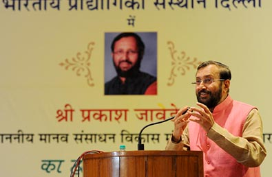 Human Resource Development Minister Prakash Javadekar speaking at the 50th IIT Council meeting at the IIT Delhi auditorium on August 23.