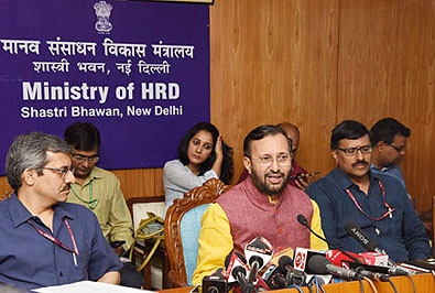 Union Minister for Human Resource Development, Prakash Javadekar briefing reporters about the National Testing Agency, in New Delhi on July 07, 2018.