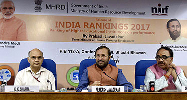 Union Minister for Human Resource Development Prakash Javadekar addressing reporters at the release of the �INDIA RANKING 2017�, in New Delhi on April 03, 2017. He is accompanied by the Minister of State for Human Resource Development, Dr. Mahendra Nath Pandey and the Higher Education Secretary.